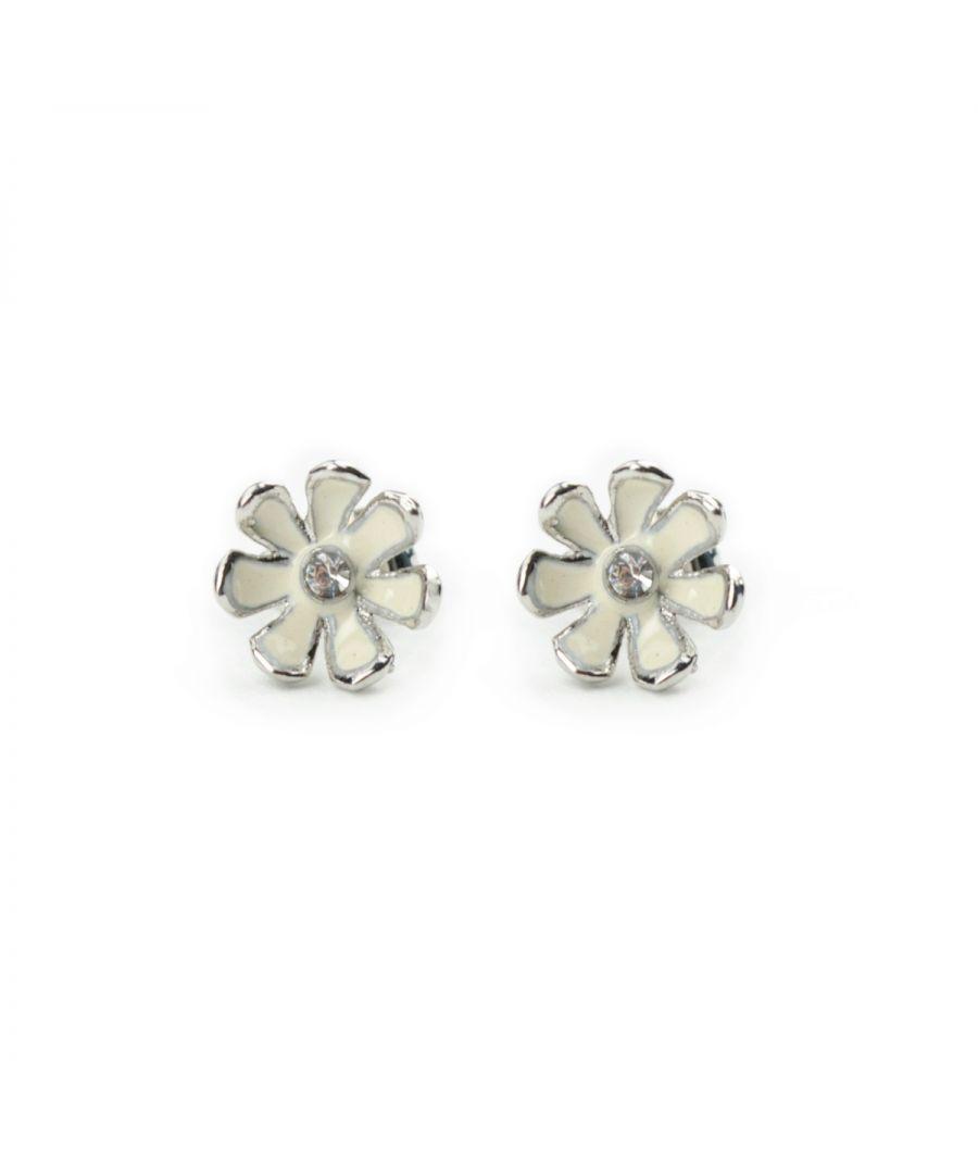 Image for Fiorelli Fashion Imitation Rhodium Plated White Enamel Flower Stud Earrings