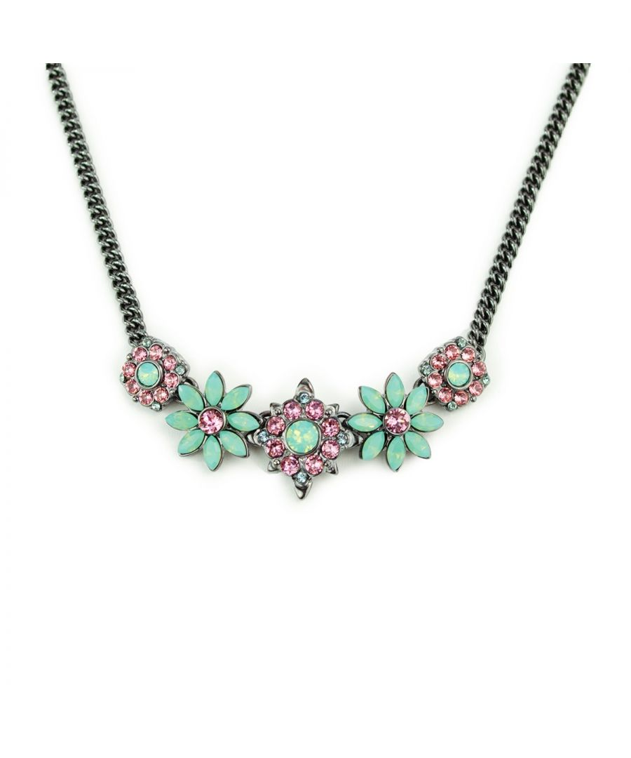 Image for Fiorelli Fashion Gunmetal Plated Pink & Mint Crystal by Swarovski Flower Statement Necklace 45cm + 5cm