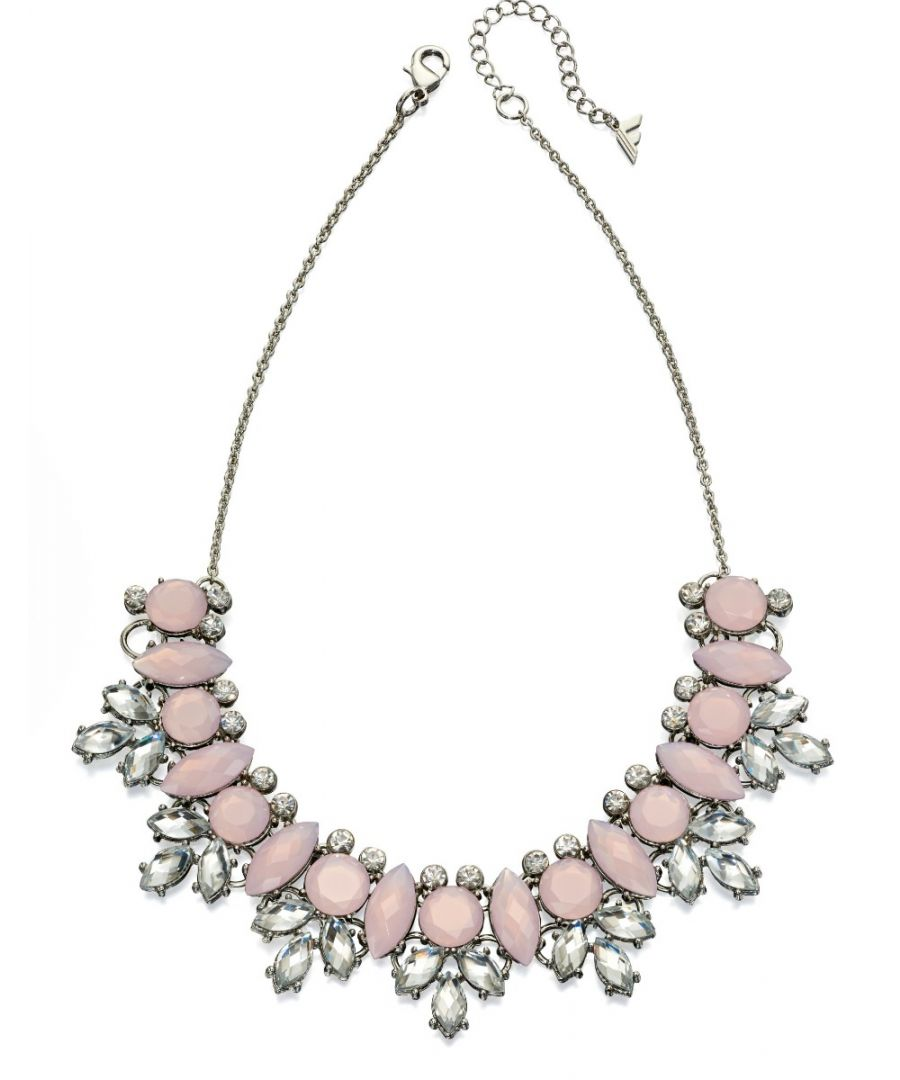 Image for Fiorelli Fashion Silver Plated Pink & Grey Crystal Statement Necklace 46cm + 5cm