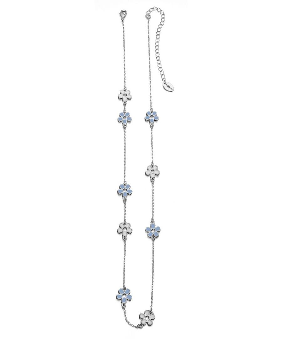 Image for Fiorelli Fashion Imitation Rhodium Plated Blue & White Enamel Flower Station Necklace 60cm + 10cm