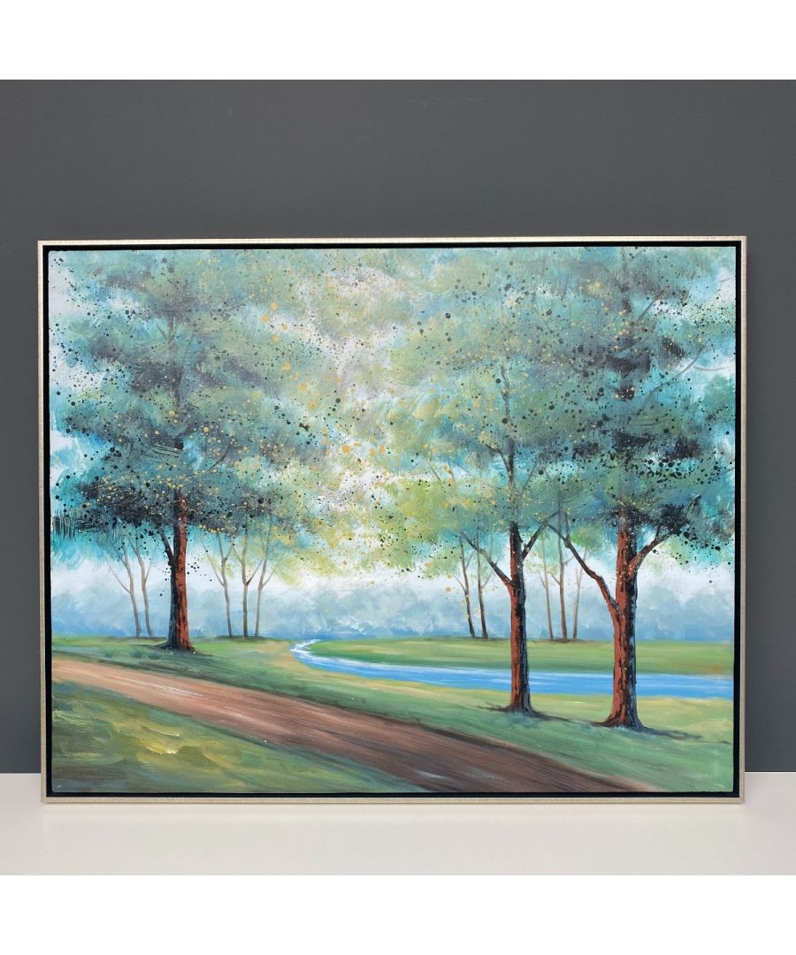 Image for Treelines Painted Canvas with Silver Frame 80x100