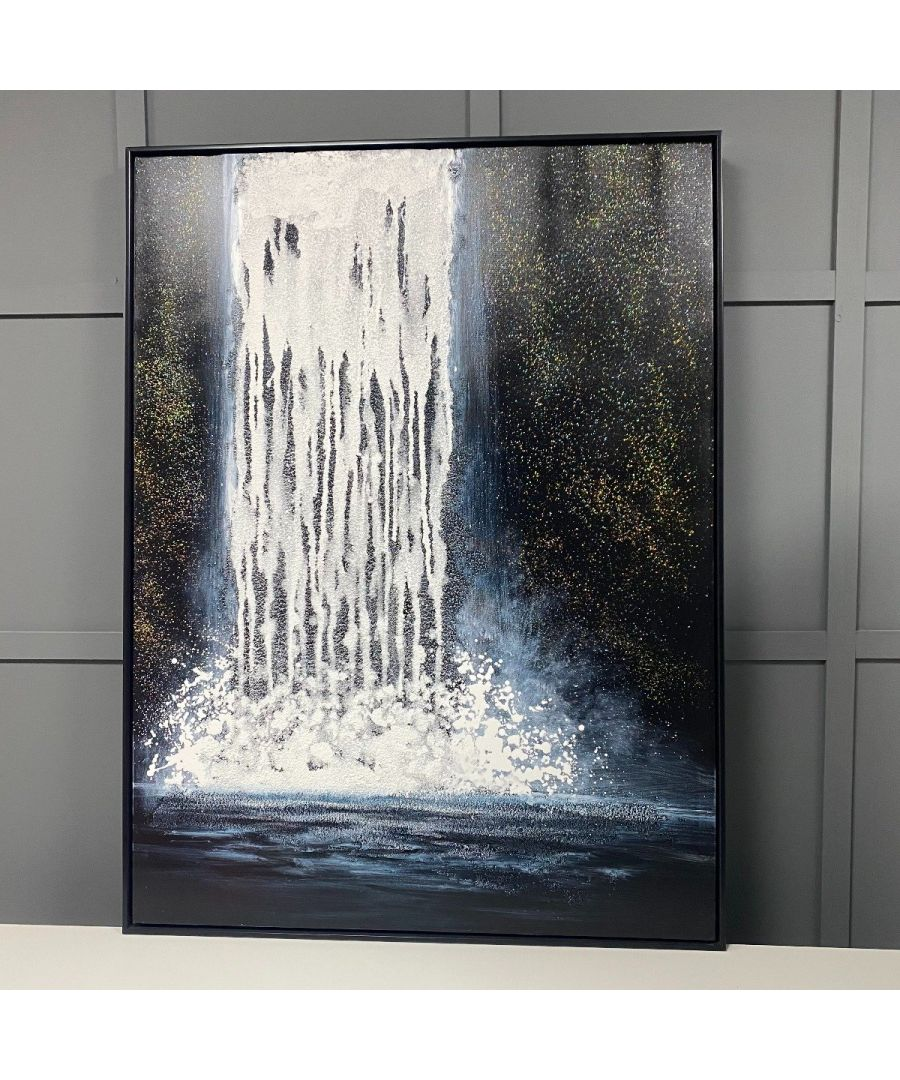 Image for Abstract Waterfall Painted Canvas with Black Frame 90x120