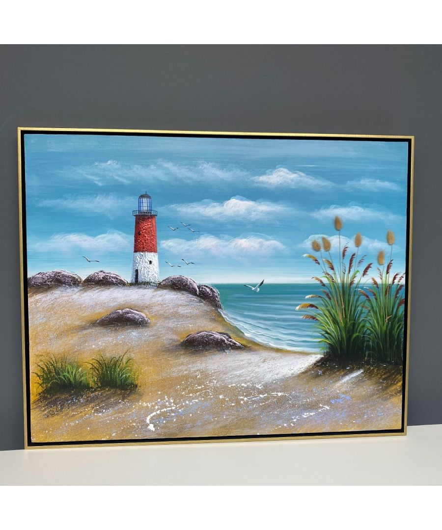 Image for Seaside Summer Painted Canvas with Gold Frame 100x80