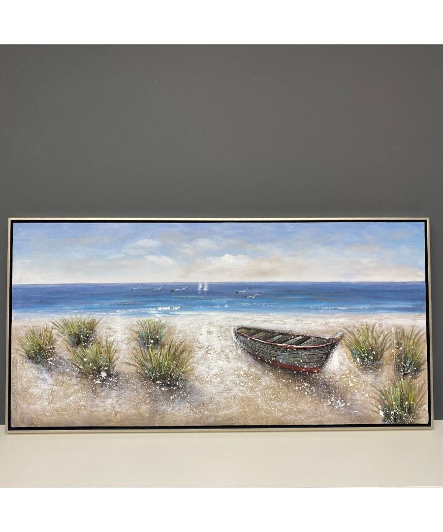 Image for Washed Up Painted Canvas with Silver Frame 120x60