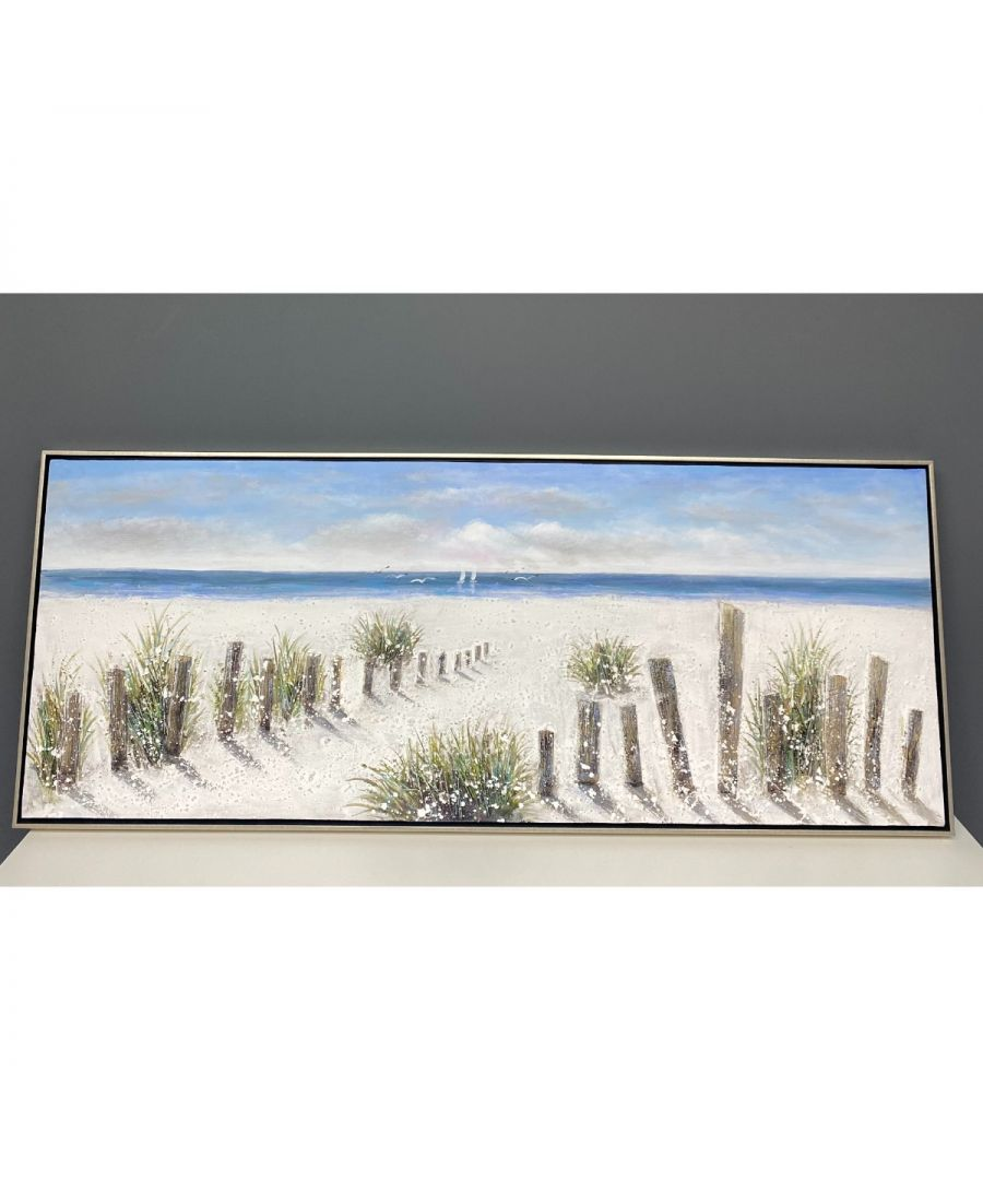 Image for Life's a Beach Painted Canvas with Silver Frame 150x60