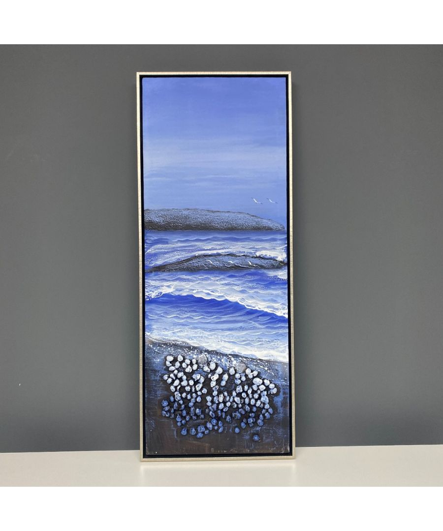 Image for Beach Shells 1 Painted Canvas with Silver Frame 40x100