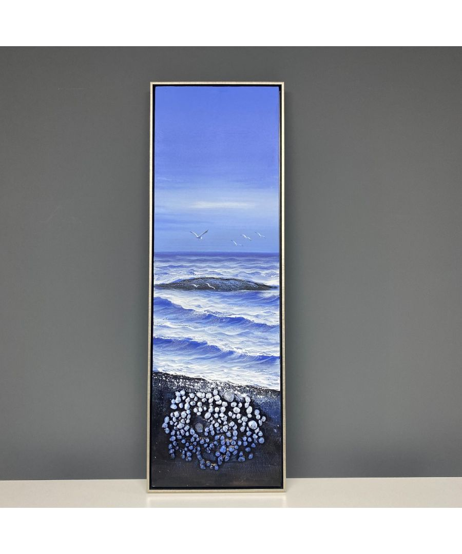 Image for Beach Shells 2 Painted Canvas with Silver Frame 40x120