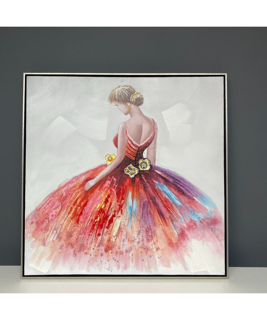 Image for Ballerina Painted Canvas with Silver Frame 90x90