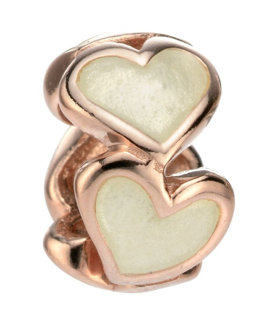 Image for Elements Silver Womens 925 Sterling Silver Rose Gold Plate & Cream Enamel Heart Bead Charm