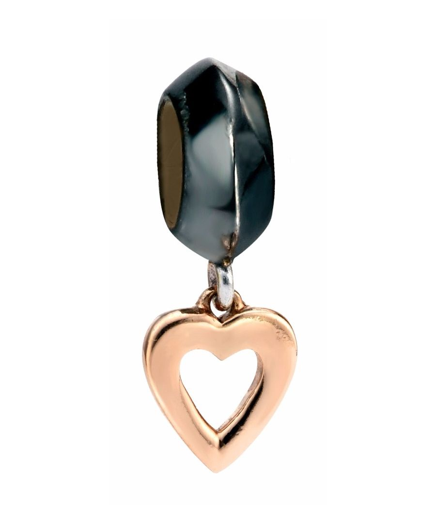 Image for Elements Silver Womens 925 Sterling Silver Oxidised Bead Charm with Drop Rose Gold Heart Charm