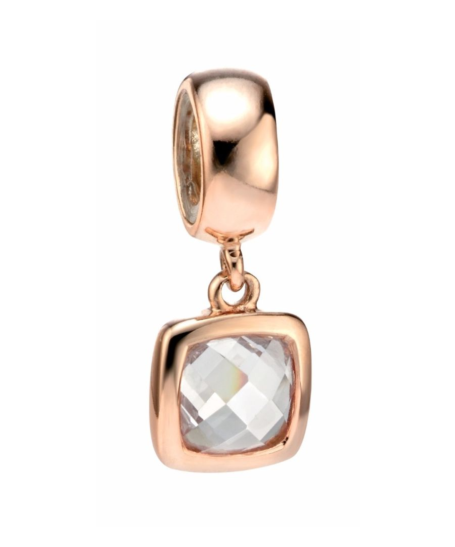 Image for Elements Silver Womens 925 Sterling Silver Rose Gold Plate Spacer Charm Bead with Square Clear Cubic Zirconia