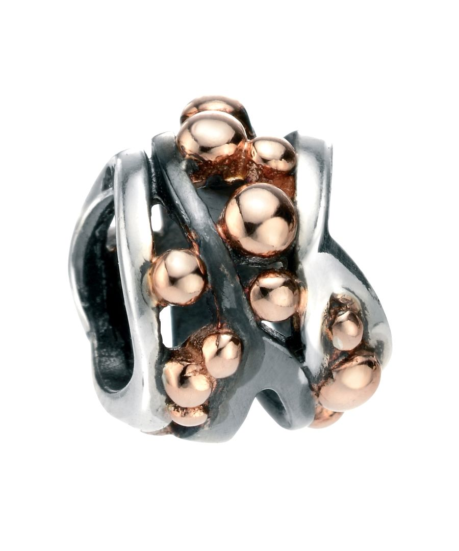Image for Elements Silver Sterling Silver Multi Ball Detail Bead Rose Gold And Oxidised