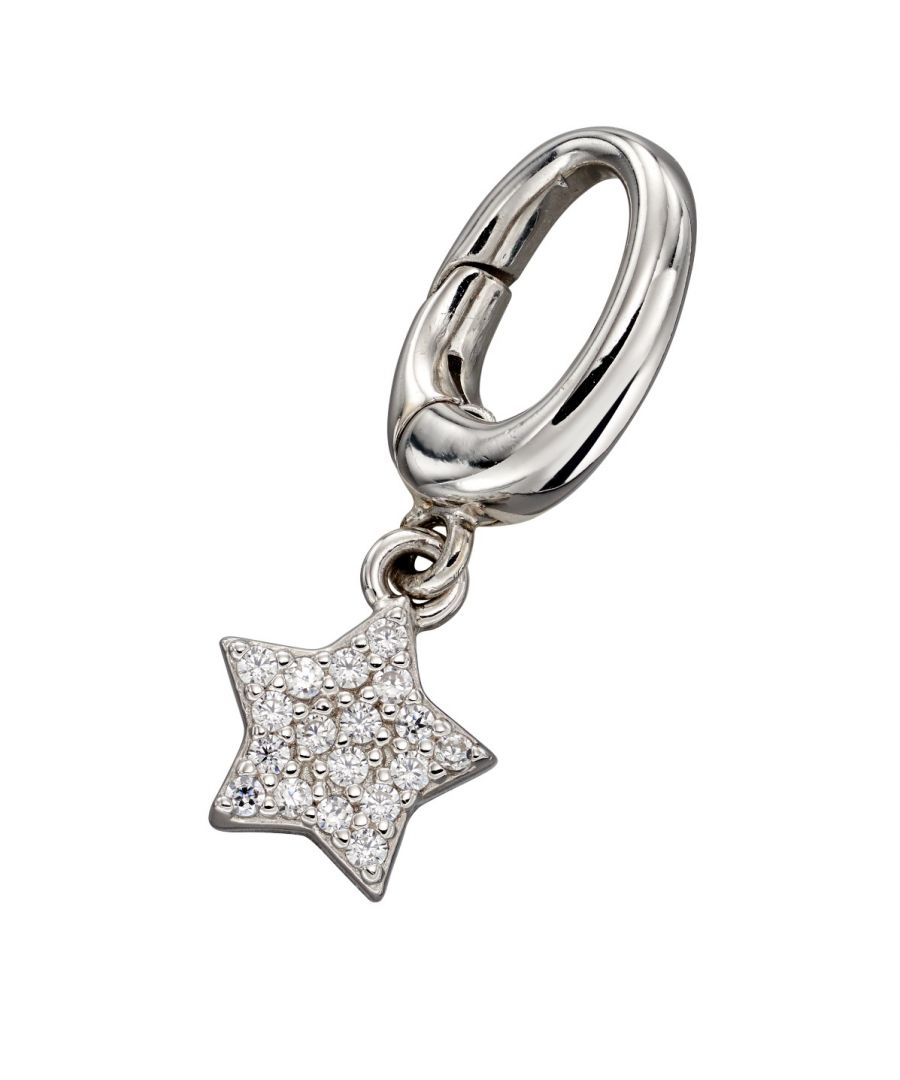 Image for Fiorelli Silver Womens 925 Sterling Silver Pave Cubic Zirconia Star Spring Catch Charm