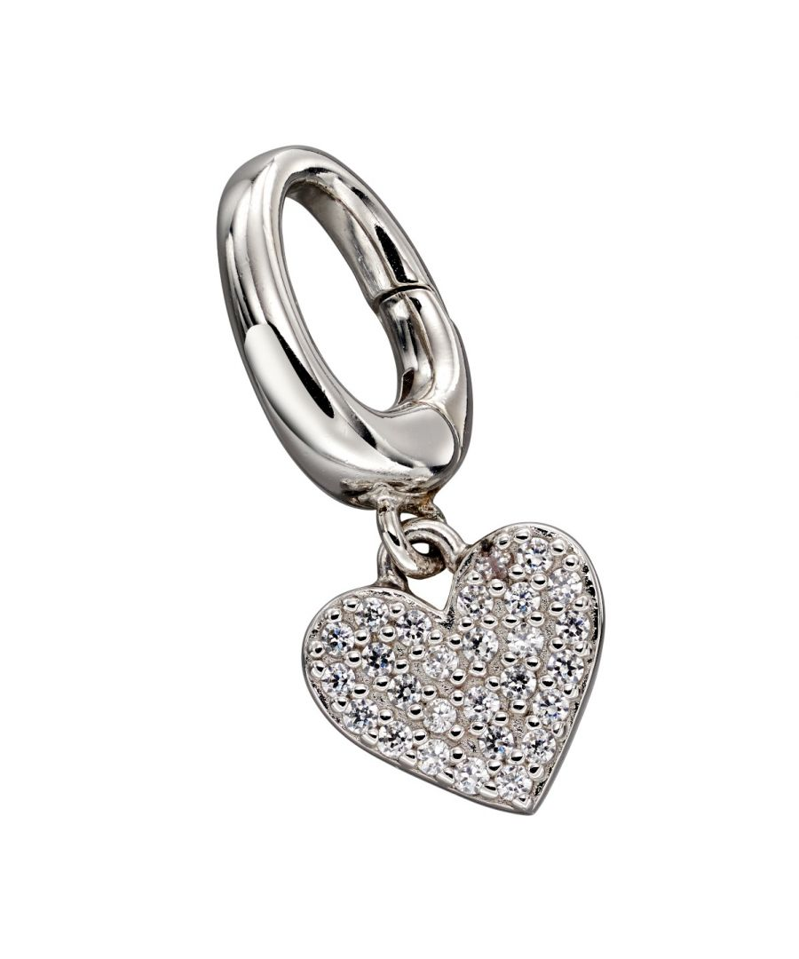 Image for Fiorelli Silver Womens 925 Sterling Silver Pave Cubic Zirconia Heart Spring Catch Charm