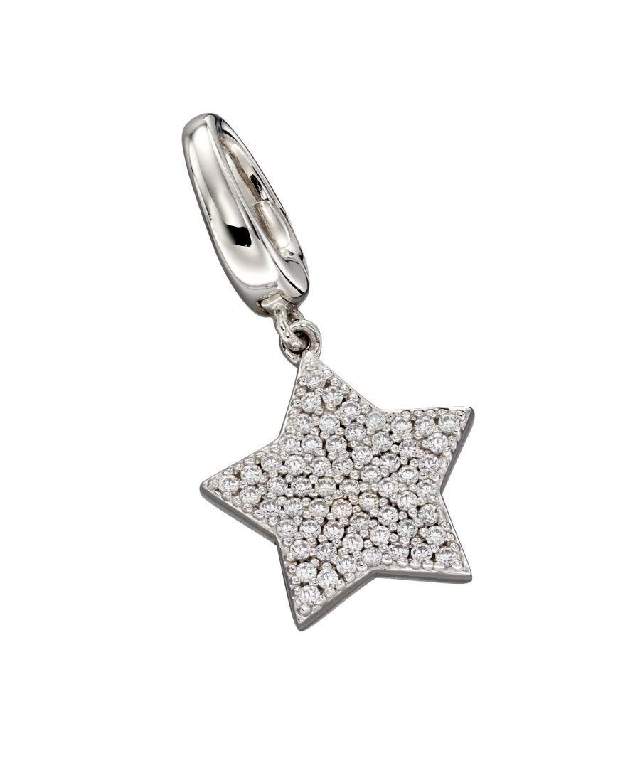 Image for Fiorelli Silver Womens 925 Sterling Silver Pave Cubic Zirconia Bigger Star Spring Catch Charm