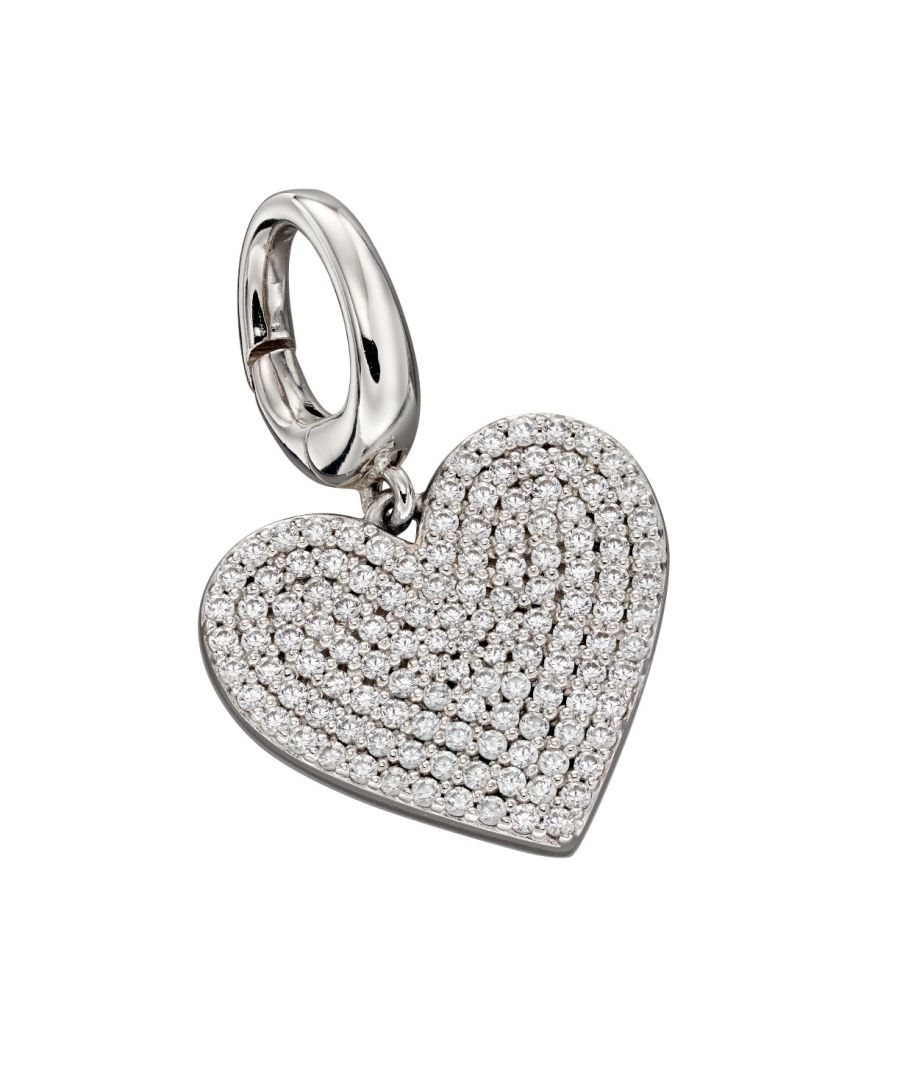 Image for Fiorelli Silver Womens 925 Sterling Silver Pave Cubic Zirconia Bigger Hear Spring Catch Charm