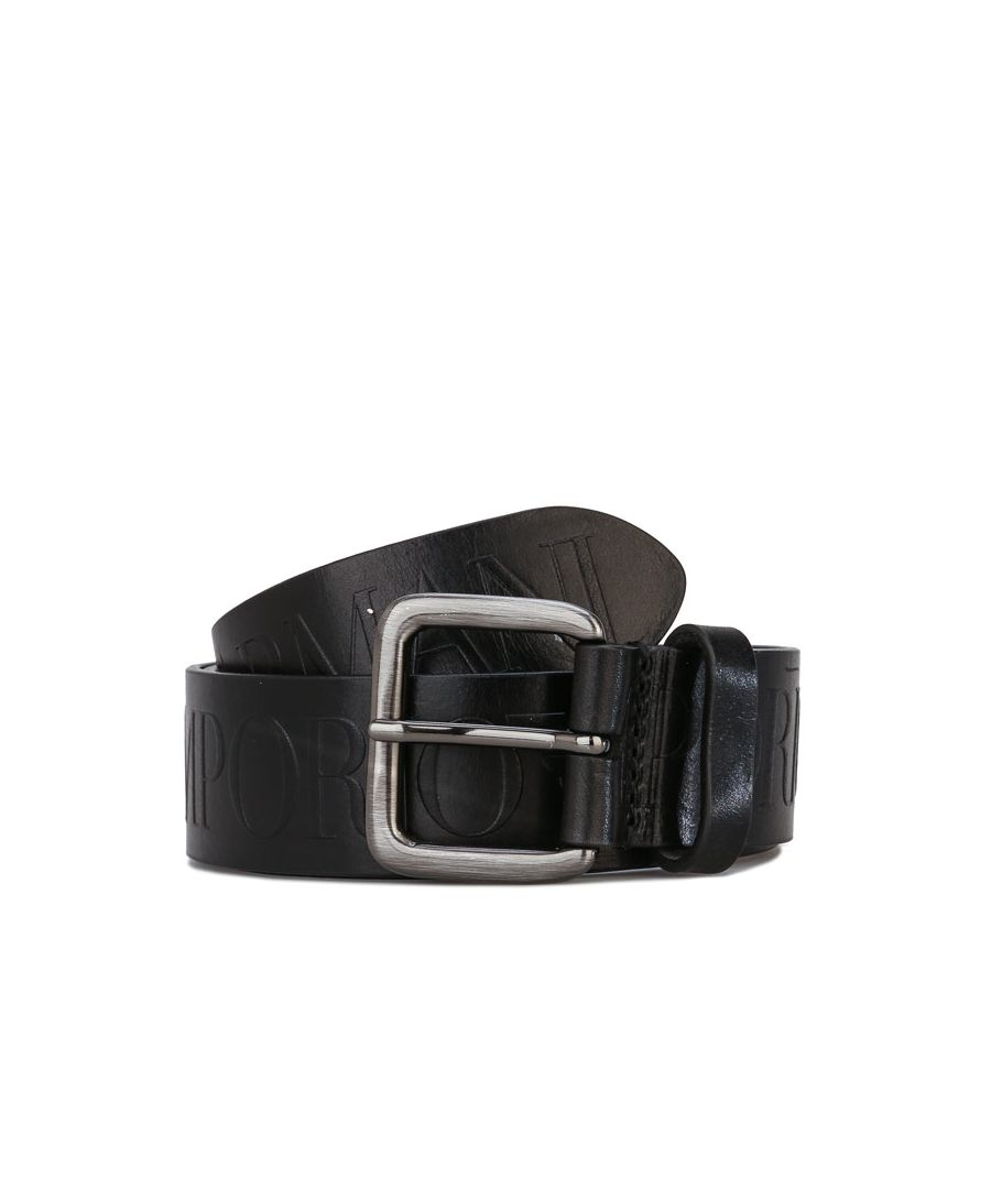 Image for Accessories Armani Embossed Logo Leather Belt in Black