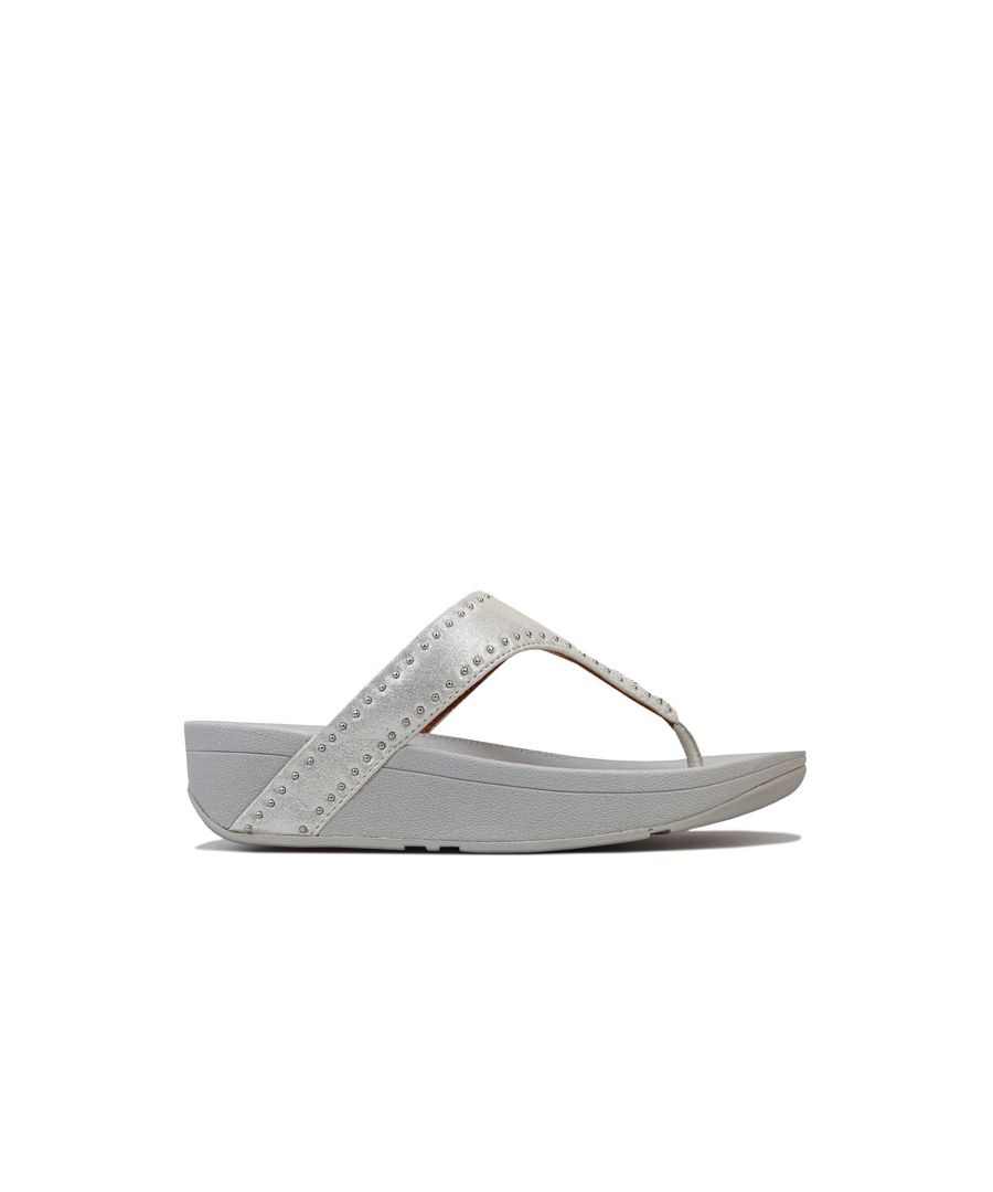 Image for Women's Fit Flop Lottie Microstud Toe Thong Sandals in Silver