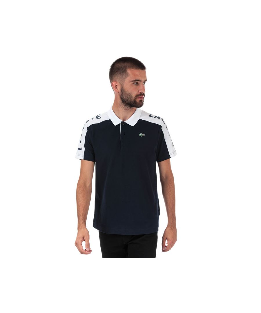 Image for Men's Lacoste Regular Fit Pique Polo in Navy