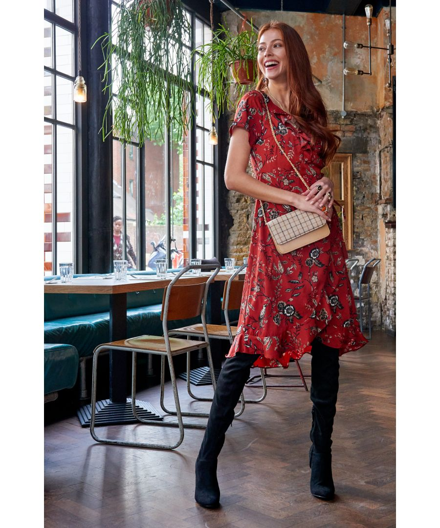 Image for Rust Chintzy Flower And Bird Frill Wrap Dress