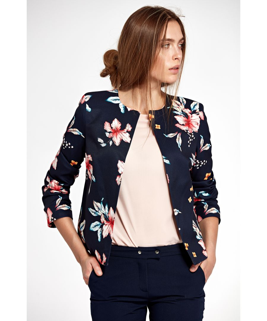 Image for Jacket without collar - flowers/navy blue