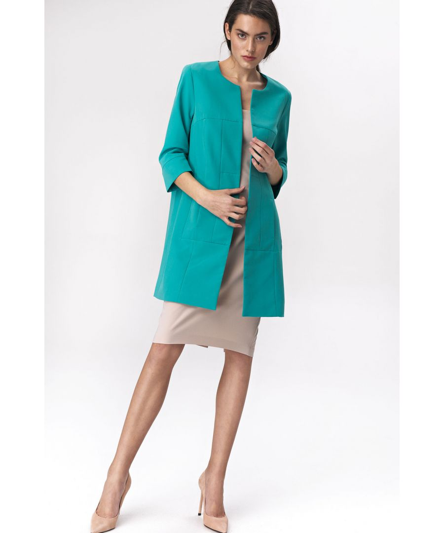 Image for Turquoise long jacket for woman