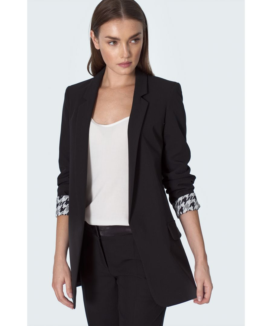 Image for Black Jacket With Wrapped Sleeve in Pepito Pattern