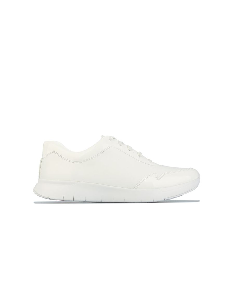 Image for Women's Fit Flop Ida Leather Flex Trainers in White