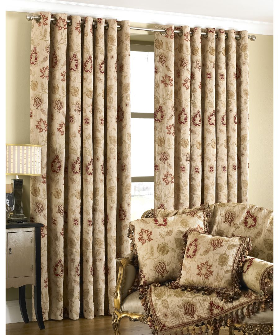 Image for Zurich Floral Danmask Eyelet Curtains in Champagne