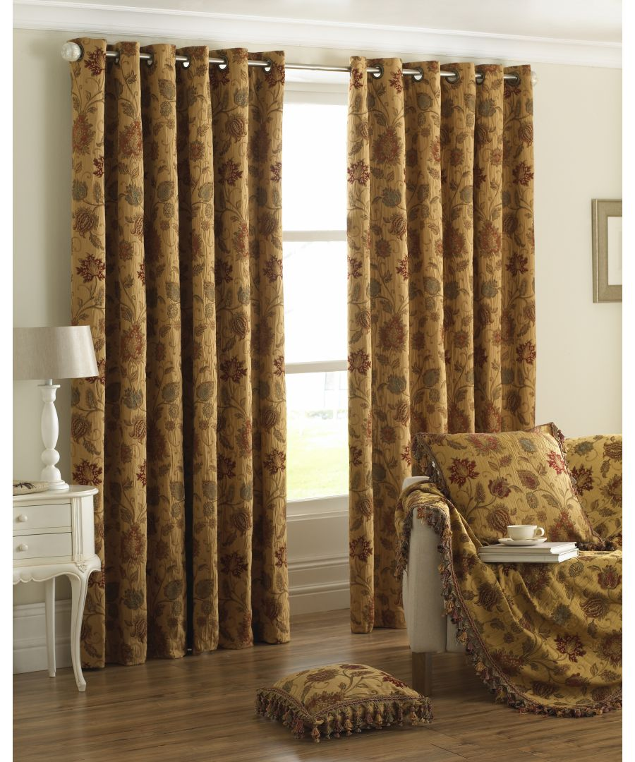Image for Zurich Floral Danmask Eyelet Curtains in Gold