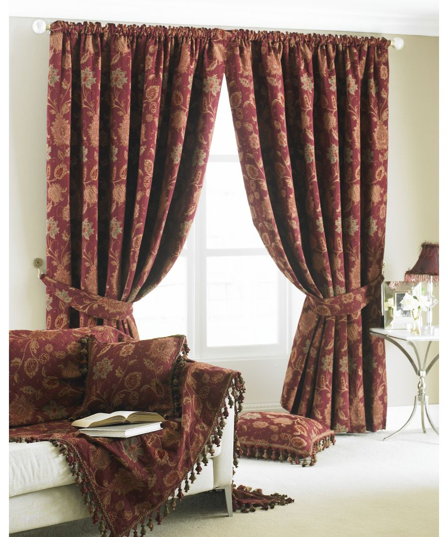 Image for Zurich Floral Danmask Pencil Pleat Curtains in Burgundy