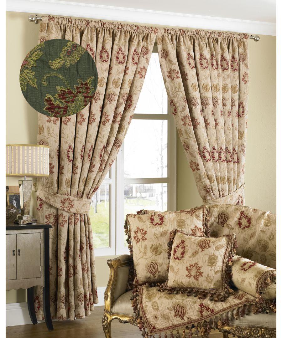 Image for Zurich Floral Danmask Pencil Pleat Curtains in Green